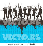 Vector of Silhouetted Dancers on a Black Grunge Bar and Blue Chevron Pattern by KJ Pargeter