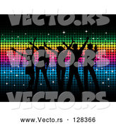Vector of Silhouetted Dancers over Rainbow Colored Mosaic Background by KJ Pargeter
