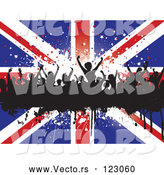 Vector of Silhouetted Dancers Stars and a Union Jack Flag by KJ Pargeter
