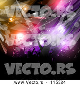 Vector of Silhouetted Dancing and Cheering Crowd over Colorful Flares and Lights by KJ Pargeter
