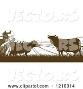 Vector of Silhouetted Farm House with Cows and Fields by AtStockIllustration