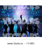 Vector of Silhouetted Group of Dancers over Flares and Lights on Purple and Blue by KJ Pargeter