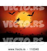 Vector of Silhouetted Halloween Witch Flying on a Broomstick Against an Orange Full Moon Sky with Vampire Bats over a Cemetery by KJ Pargeter