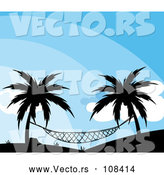 Vector of Silhouetted Hammock Suspended Between Palm Trees Against a Blue Sky by Graphics RF
