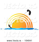 Vector of Silhouetted Kite Surfer Person Against a Sunset or Sunrise by Lal Perera