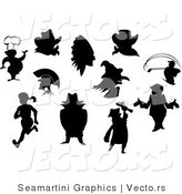 Vector of Silhouetted People and Characters by Seamartini Graphics