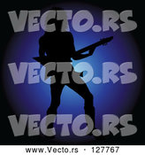 Vector of Silhouetted Rock Star Guy Playing an Electric Guitar over Blue by Pams Clipart