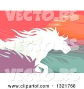 Vector of Silhouetted Running Horses Against the Sunset by BNP Design Studio