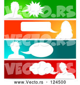 Vector of Silhouetted Talking Avatars with Copyspace on Colorful Banners by KJ Pargeter