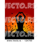 March 21st, 2018: Vector of Silhouetted Yoga Lady with Plants and Butterflies Against a Sunset by KJ Pargeter
