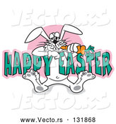 Vector of Silly Cartoon White Easter Bunny Eating a Carrot While Hanging onto Text Reading Happy Easter by Andy Nortnik