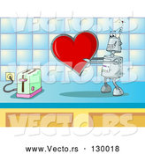 Vector of Silly Robot in Love, Holding a Red Heart Valentine out to a Toaster on a Kitchen Counter by Holger Bogen