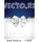 Vector of Silver Gift Bow and Blank Text Space with Stars and Sparkles by Pushkin