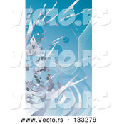 Vector of Silver Technology Scraps Exploding over Blue by AtStockIllustration