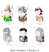Vector of Six Avatars; Party Man, Viking, Elvis Presley, Knight, James Bond, and a Judge by AtStockIllustration
