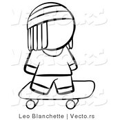 Vector of Skater Boy - Coloring Page Outlined Art by Leo Blanchette