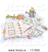 Vector of Sketched Open Garden Journal with Flowers and Tools by BNP Design Studio