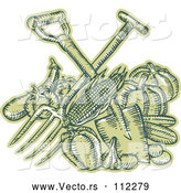 Vector of Sketched or Engraved Crossed Spade and Pitchfork over Green Harvest Produce by Patrimonio