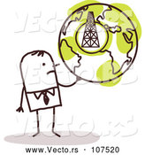 Vector of Sketched Stick Businessman Holding a Globe with a Tower by NL Shop