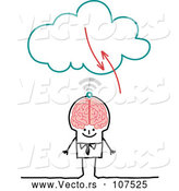 Vector of Sketched Stick Businessman with a Big Brain Connecting to the Cloud by NL Shop