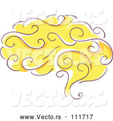 Vector of Sketched Yellow Human Brain by BNP Design Studio
