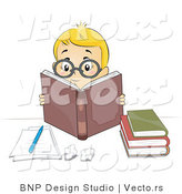 Vector of Smart Boy Wearing Glasses and Reading Books by BNP Design Studio