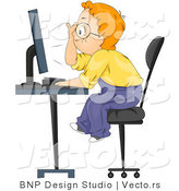 Vector of Smart Cartoon School Boy Looking at Computer Screen by BNP Design Studio