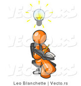 Vector of Smart Orange Guy Seated with His Legs Crossed, Brainstorming and Writing Ideas down in a Notebook, Lightbulb over His Head by Leo Blanchette