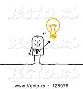 Vector of Smart Stick Business Man with an Idea Displayed As a Light Bulb by NL Shop