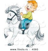 Vector of Smiling Cartoon Boy Riding a White Horse by BNP Design Studio