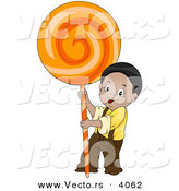 Vector of Smiling Cartoon Boy with Big Orange Candy Sucker by BNP Design Studio