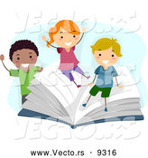 Vector of Smiling Diverse Cartoon Children Playing on a Giant School Book by BNP Design Studio