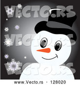 Vector of Smiling Snowman with a Hat over Black with Snowflakes by Pams Clipart