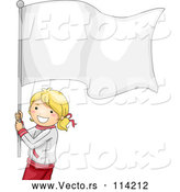 Vector of Smiling Young Blond White Girl Carrying a Blank Flag by BNP Design Studio