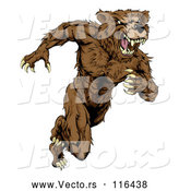 Vector of Snarling Muscular Bear Mascot Running Upright by AtStockIllustration