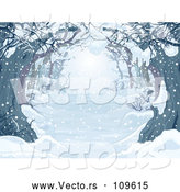 Vector of Snow Covered Tree Lined Driveway or Forest by Pushkin