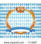 Vector of Soft Pretzel and Wheat Oktoberfest Frame over Diamonds with a Banner by Pushkin
