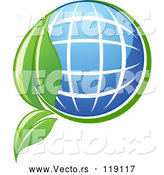 Vector of Solar Panel Globe and Green Leaf by Vector Tradition SM