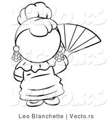Vector of Spanish Girl Waving a Hand Fan - Coloring Page Outlined Art by Leo Blanchette