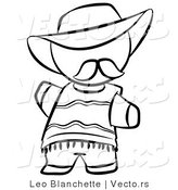 Vector of Spanish Person in a Hat - Coloring Page Outlined Art by Leo Blanchette