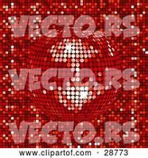 Vector of Sparkling Red Mirror Disco Ball Spinning over a Mosaic Background by Elaineitalia