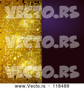 Vector of Sparkly Gold Mosaic and Purple Panel with Text Space by Elaineitalia