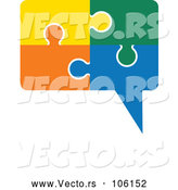 Vector of Speech Balloon Made of Colorful Jigsaw Puzzle Pieces by ColorMagic