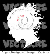 Vector of Spiraling Words Inside Woman's Head, Ask for Help by Pams Clipart
