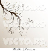 Vector of Splattered Brown Vines over Beige Background Design by MilsiArt