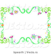 Vector of Spring Floral Vine Border with Colorful Flowers and Butterflies by Bpearth