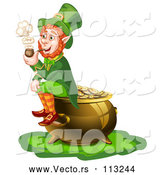 Vector of St Patricks Day Leprechaun Smoking a Pipe and Sitting on a Pot of Gold by Merlinul