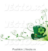 Vector of St. Patricks Day Theme with Leprechaun Hat and Vines - Background Design Element by Pushkin