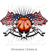 Vector of Stars Surrounding Basketball with American Flags and a Banner by Chromaco