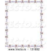 Vector of Stationery Border of Teddy Bears and Baby Rattles over a White Background by Andy Nortnik